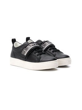 Lanvin Enfant TEEN logo touch strap sneakers - Black