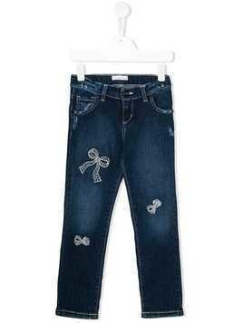 Miss Blumarine straight-fit bow jeans - Blue
