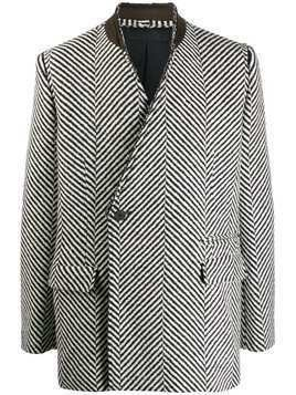 Haider Ackermann collarless herringbone blazer - Black