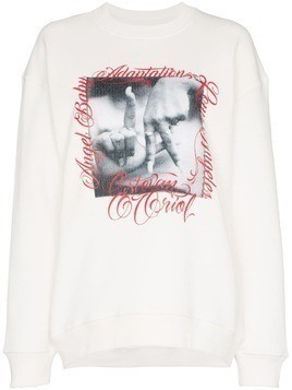 Adaptation graphic print long-sleeved cotton jumper - White