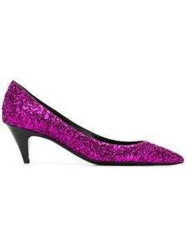 Saint Laurent Charlotte glitter pumps - Pink & Purple