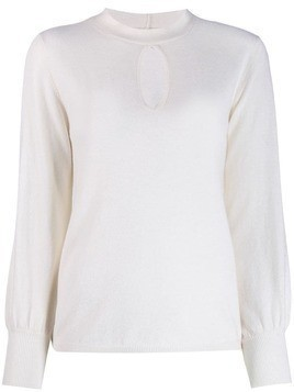 Allude teardrop detail knitted top - White