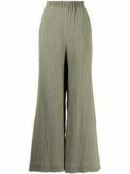 0711 wide-leg pleated trousers - Green
