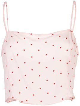 Fleur Du Mal dot embroidered straight neck cami - PINK