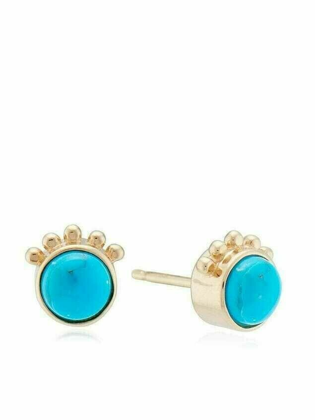 Marlo Laz 14kt yellow gold Squash Blossom turquoise stud earrings