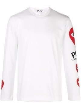 Comme Des Garçons Play heart printed sleeves T-shirt - White