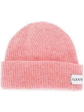 Ganni ribbed knit beanie - Pink