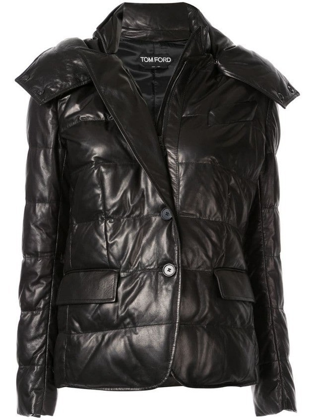 Tom Ford padded hooded leather jacket - Black