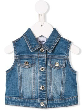 Moschino Kids toy embroidered denim waistcoat - Blue