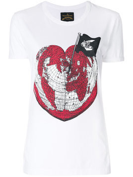 Vivienne Westwood Anglomania heart world print T-shirt - White