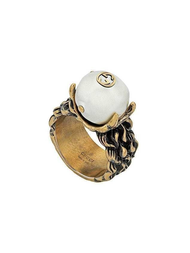 Gucci Textured ring with cream glass pearl - GOLD