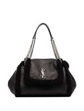Saint Laurent small Nolita shearling shoulder bag - Black