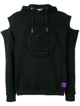 Icosae cut out shoulder hoodie - Black