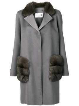 Manzoni 24 fur trimmed coat - Grey