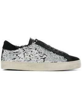 D.A.T.E. lace-up sequin sneakers - Metallic