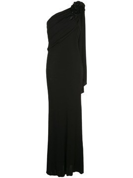 Badgley Mischka empire line one shoulder dress - Black