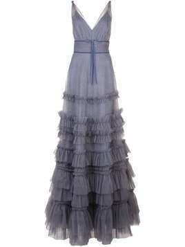 Marchesa Notte ruffled glitter-embellished gown - PURPLE