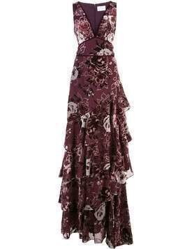 Marchesa Notte ruffle tiered long dress - PURPLE