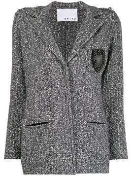 20:52 single-breasted tweed jacket - Black