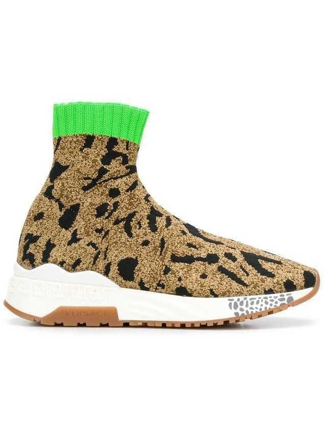 Versace printed sock sneakers - Brown