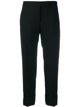 Thom Browne exposed RWB cuff trousers - Black