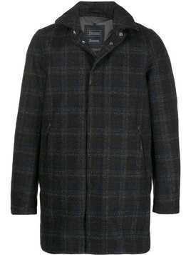 Herno check hooded coat - Blue