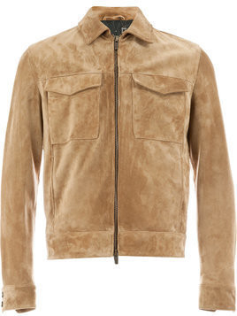 Ajmone collared suede jacket - Brown