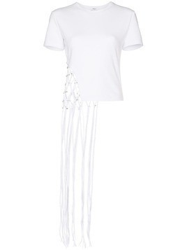AREA cropped net T-shirt - White