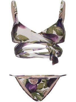 Adriana Degreas fig print wrap tie bikini set - Purple
