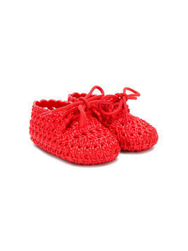 Mini Melissa woven crib shoes - Red