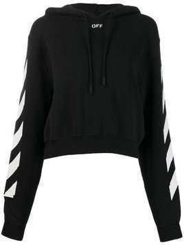 Off-White striped sleeve cropped hooded jumper - Black