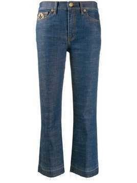 Tory Burch logo-patch mom jeans - Blue