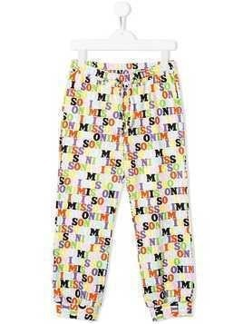 Missoni Kids all over logo trousers - White