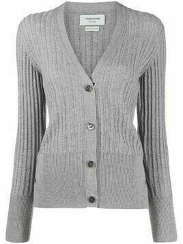 Thom Browne relaxed cable knit cardigan - Grey