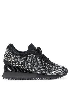 Le Silla Reiko Wave crystal-embellished sneakers - Black