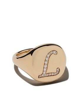 David Yurman 18kt yellow gold Cable Collectibles diamond L initial pinky signet ring - 88ADI