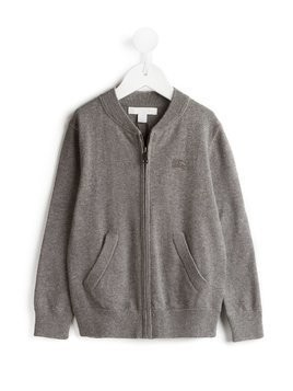 Burberry Kids Check Elbow Patch Bomber Cardigan - Grey