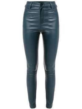 Drome high-waisted leather trousers - Blue
