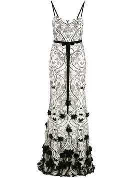 Marchesa Notte 3D floral feather gown - White