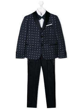 Colorichiari tile-jacquard three piece suit - Blue