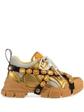 Gucci Flashtrek leather sneaker with crystals - Gold