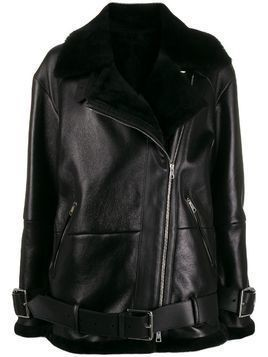 Blancha oversized belted biker jacket - Black