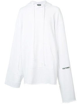 Raf Simons elongated sleeve hoodie - White