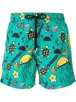 Vilebrequin Moorea Turtles-print swim shorts - Green