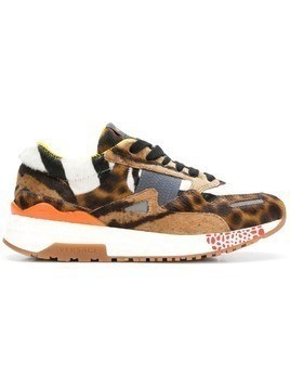 Versace leopard print sneakers - Brown