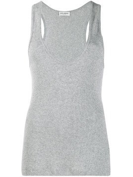 Saint Laurent glittery ribbed tank top - Grey