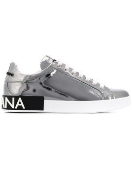 Dolce & Gabbana branded lace-up sneakers - Silver