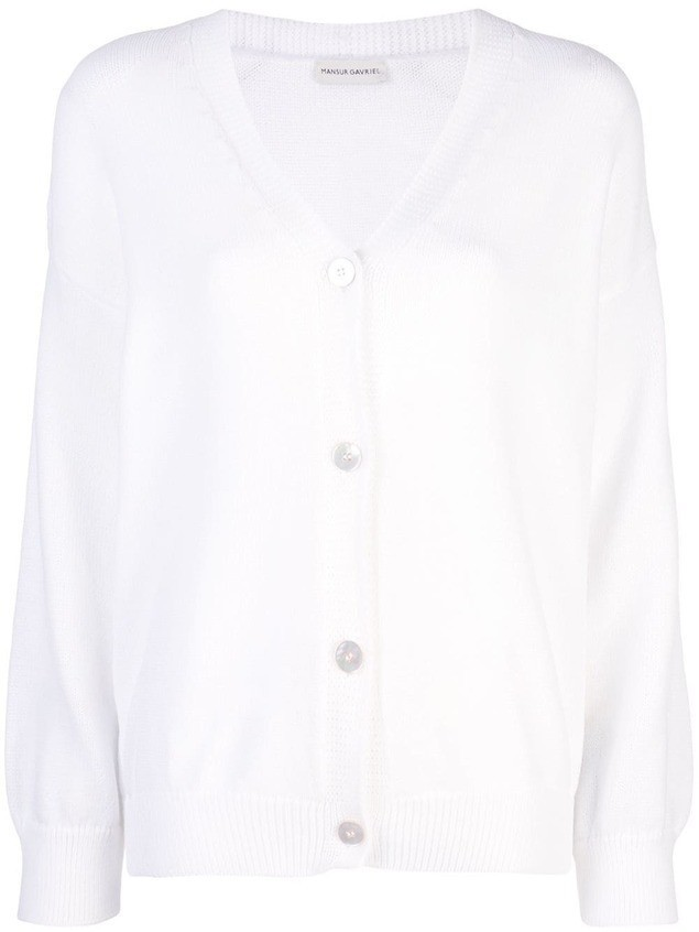 Mansur Gavriel long-sleeve fitted cardigan - White