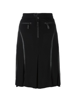 Jean Paul Gaultier Vintage perforated leather effect trim skirt - Black