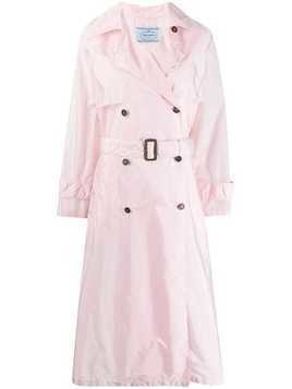 Prada flared mid-length trench coat - PINK